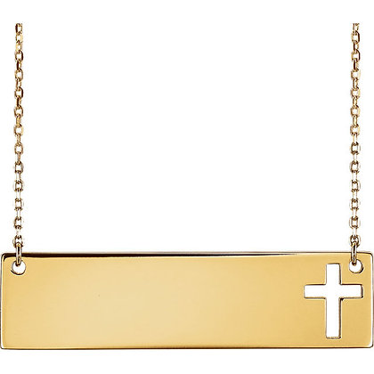 Engravable Cross Bar: 14K White, Yellow Or Rose