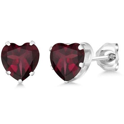 Sterling Silver Garnet Inspired Heart Studs