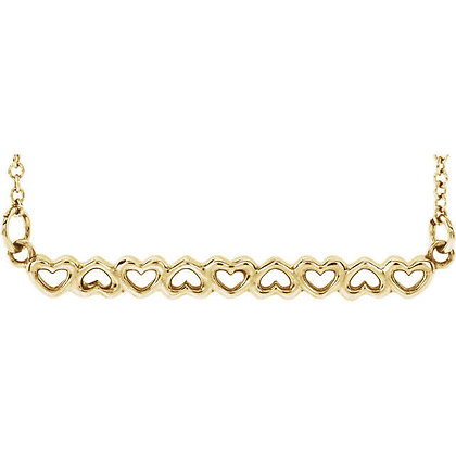 Any Color 14K Gold Or Platinum Heart Bar Necklace