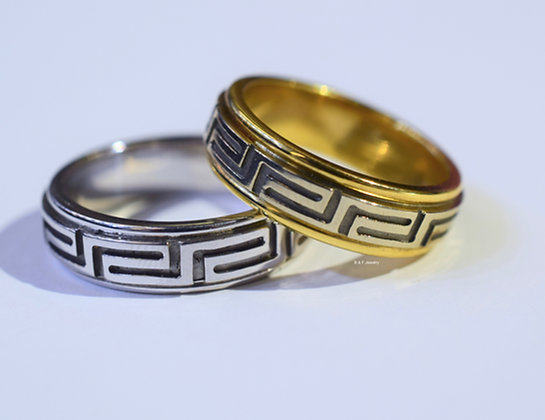 Greek Key Design Bands In White And yellow Gold