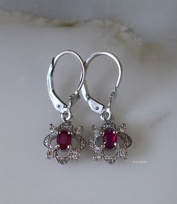 14K White Gold Antique Style Diamond And Ruby Drop Earrings