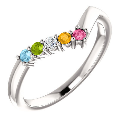 Custom Any Color Solid Gold 1 to 5 Birthstone Ring