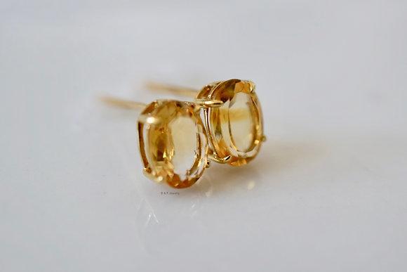 14K Gold Oval Citrine Stud Earrings
