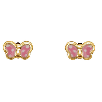 14K Yellow Pink Enamel Butterfly Earrings