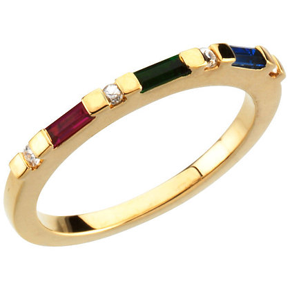 Any Color 14K Gold 1 to 3 Stone Baguette Stackable Birthstone Ring