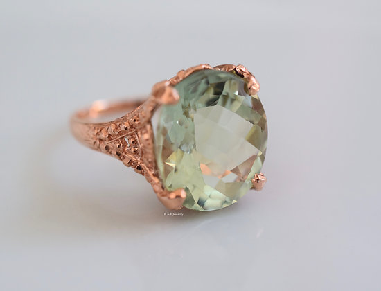 14K Rose Gold Green Amethyst Ring