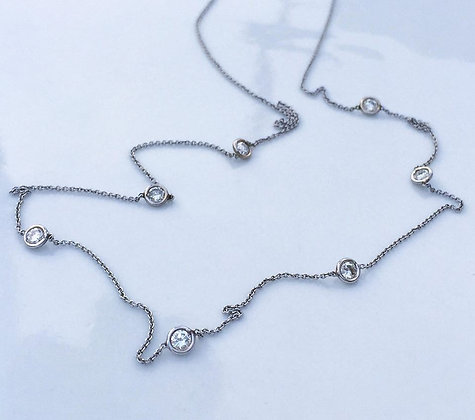 0.97 Carat Bezel Set Station Diamond Necklace