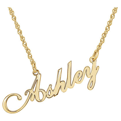 Any Color 14K Gold Name Plate Necklace