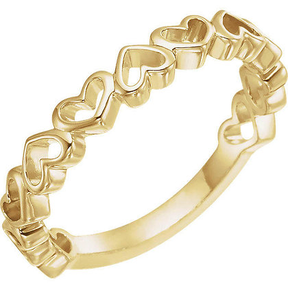 Any Color 14K Gold Heart Band
