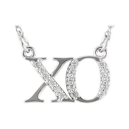 Any Color 14K Gold XO Diamond Necklace
