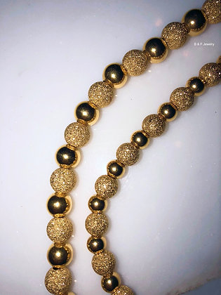 18K Yellow Gold Beaded Bracelets In Two Sizes- Has Matching Necklace