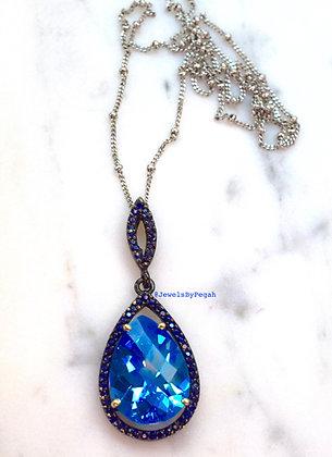 14K Blackened Gold Sapphire And Blue Topaz Pendant