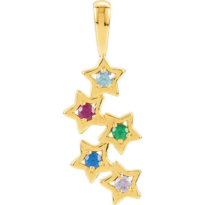 Any Color 14K Gold 1 to 5 Stone Star Family Necklace