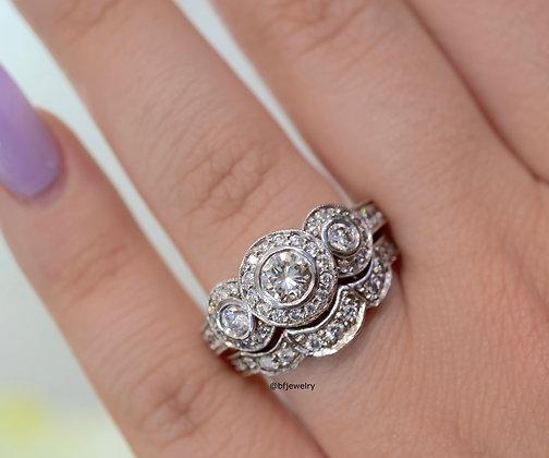 Vintage Style 3-Stone 1.24 Ct. Diamond Bridal Set