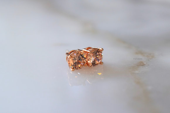 Rose Gold Plated Champagne Diamond Inspired Studs