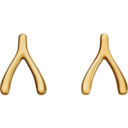 Wishbone Stud Earrings: Any Color 14K Gold