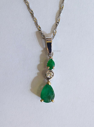 14K White Gold Emerald Drop Necklace