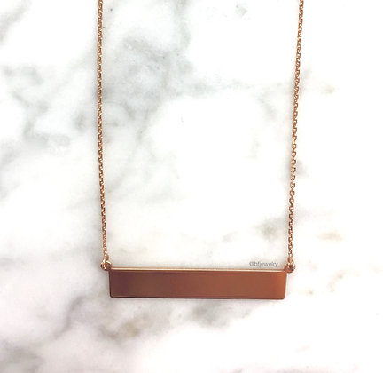 Any Color 14K Gold Bar Necklace- Optional Stones & Engraving