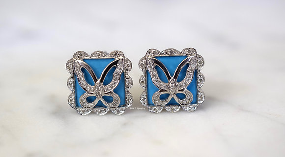 18K White Gold Turquoise And Diamond Butterfly Earrings- Has Matching Necklace