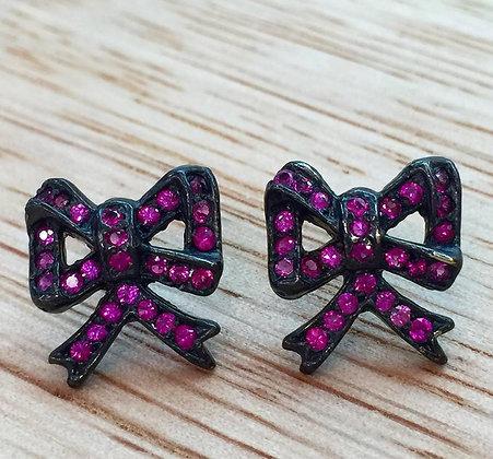 Pink Sapphire Bow Earrings