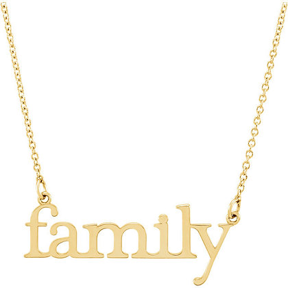 Family Script Necklace: 14K White, Yellow, Or Rose