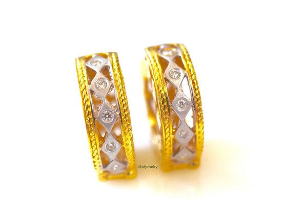 Petite Two-Tone 14K Gold Diamond Hoop Earrings