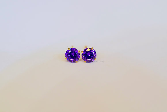 Solid 14K Gold Synthetic Amethyst Studs For Youth Or Adult