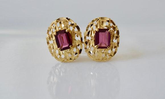 14K Gold Dark Pink Tourmaline Nugget Earrings