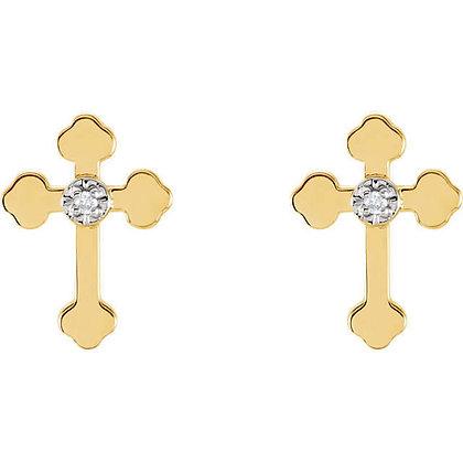14K White Or Yellow Gold Vintage Style Diamond Cross Stud Earrings