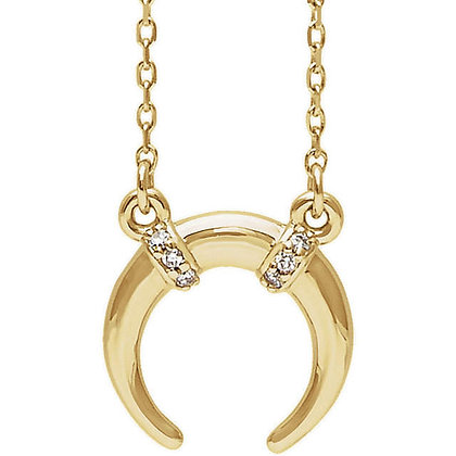 Any Color 14K Gold Crescent Diamond Necklace