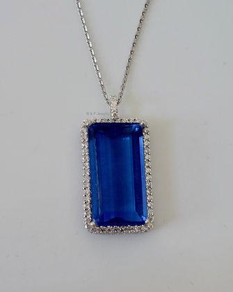 14K White Gold Fluorite And Diamond Necklace
