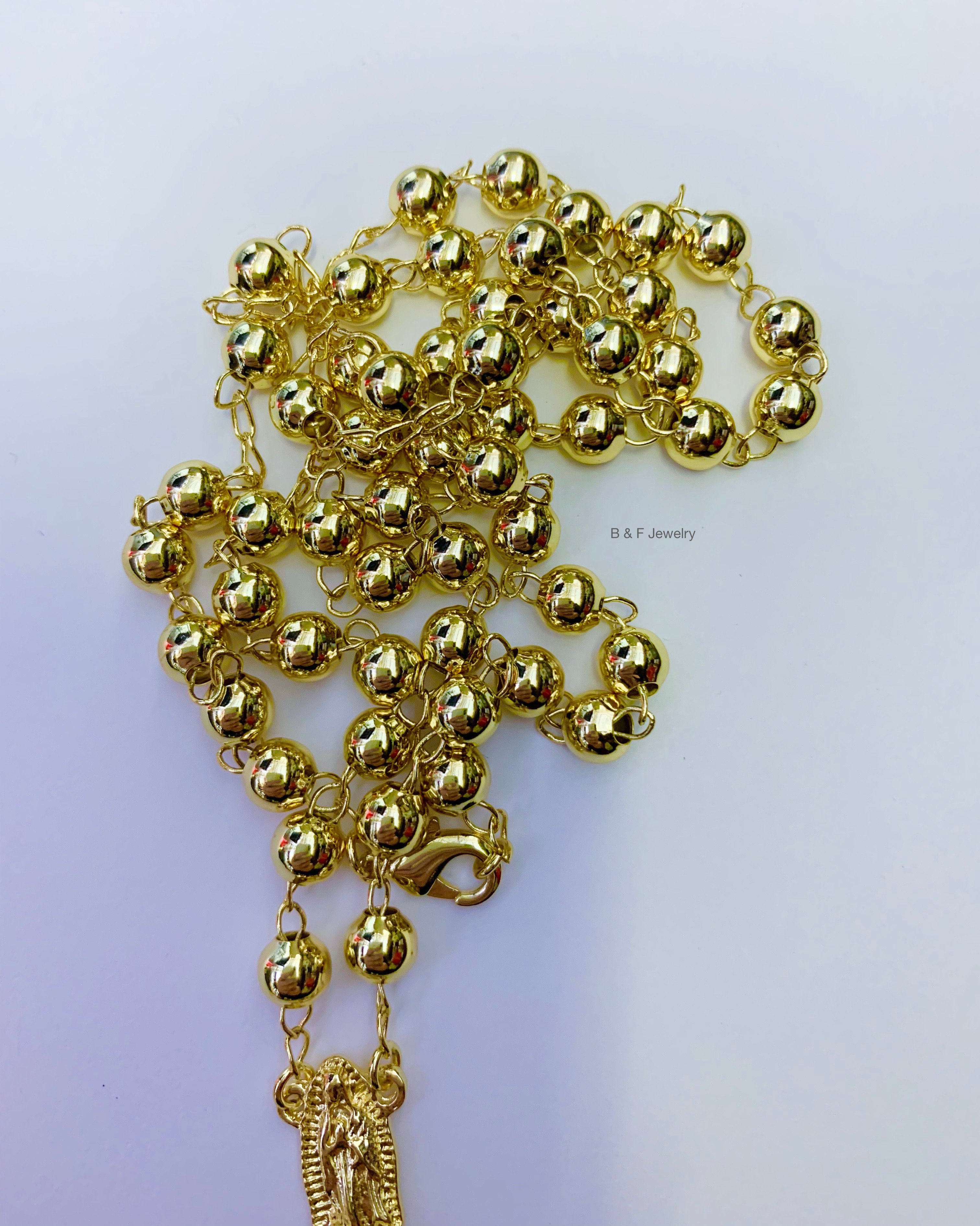 18K Gold Dipped Rosary Necklace