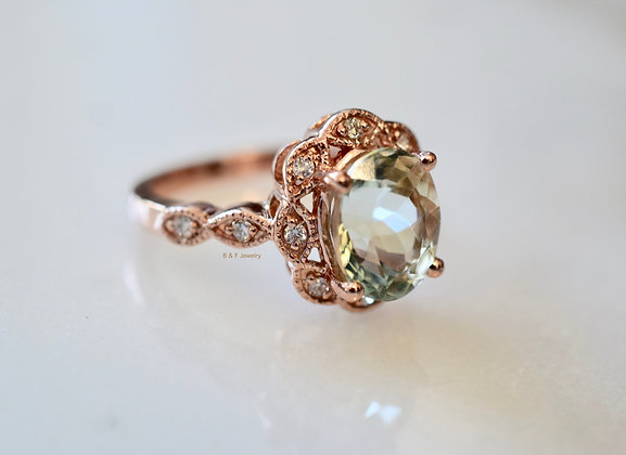 14K Rose Gold Vintage Style Oval Green Amethyst And Diamond Ring- Has Band