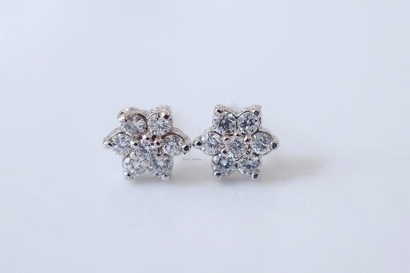14K White Gold Diamond Flower Stud Earrings- Has Necklace