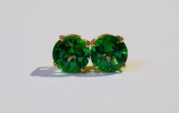 14K Gold 6.50 Carat Round Rainforest Passion Topaz Stud Earrings