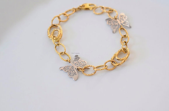 14K Yellow And White Gold Butterfly Bracelet
