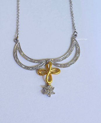 Bi-Color 14K Gold Diamond Floral And Cross Design Necklace