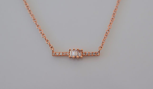 Dainty 14K Rose Gold Baguette And Round Diamond Bar Necklace