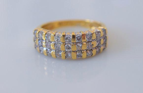 14K Yellow Gold Three Row Diamond Band