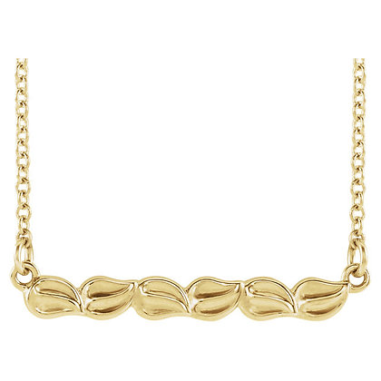 Any Color 14K Gold Leaf Design Bar Necklace