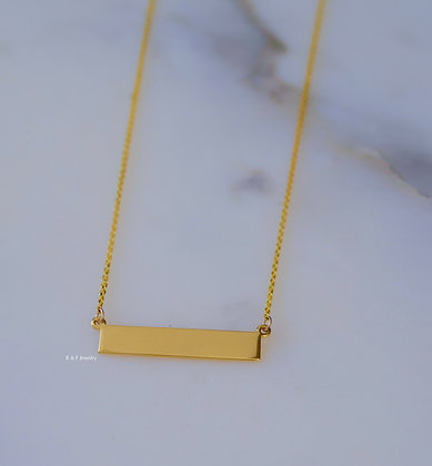 14K Yellow Gold Engravable Bar Necklace