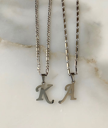 Small White Or Yellow Gold Plated Initial Necklace