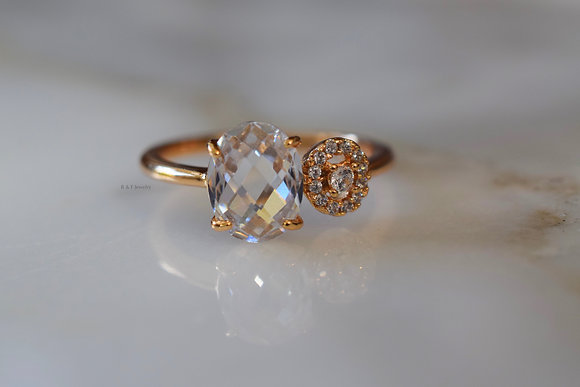 Rose Gold Plated Diamond Inspired Bypass Ring