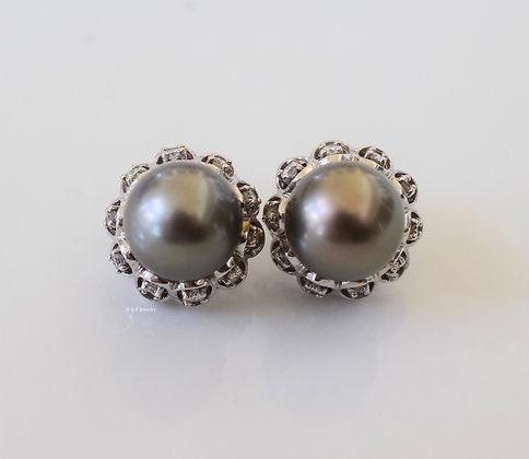 14K White Gold Grey Pearl And Diamond Earrings