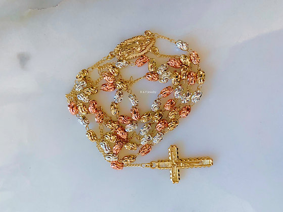 Tricolor Gold Dipped Rosary