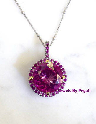 14K White Gold Pink Topaz And Pink Sapphire Necklace- Has Earrings