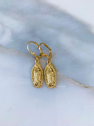 Gold Plated Virgin Mary Earrings- Has Matching Necklace
