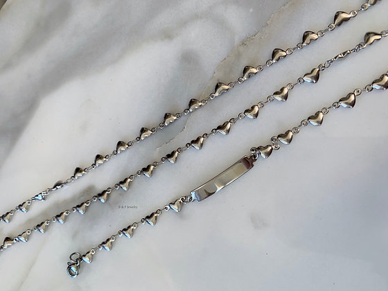 White Gold Dipped Heart Necklace And ID Bracelet