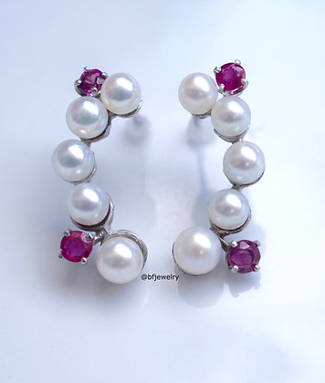 14K White Gold Pearl And Ruby Ear Climber Earrings