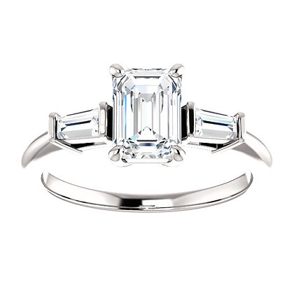 Any Color 14K Gold Emerald Cut White Sapphire And Diamond Engagement Ring